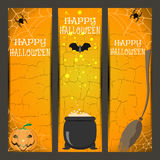 Vector set of Halloween bookmarks with broom, witch boiler, pumpkin, spider, bat on the gradient orange background. Royalty Free Stock Photography