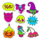 Cartoon badge,sticker. Vector set of Halloween Cartoon badge,sticker.Hand drawn symbols with skull,cherry,witch hat,bow,pumpkin,mushroom, candle, cat,muffin Royalty Free Stock Photos