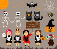 Vector set for Halloween in cartoon style. Pumpkin, ghost, candy, cauldron, owl, bat, web, skeleton. Girl in costumes. Royalty Free Stock Photography