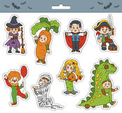 Vector set of Halloween children characters Stock Image