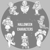 Vector set of Halloween cute characters, cartoon collection Royalty Free Stock Photo