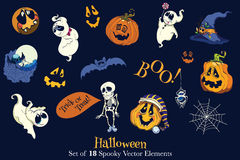 Vector Set of 18 Halloween Funny Elements Stock Photography
