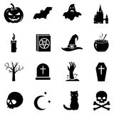 Vector Set of Halloween Icons. Vector Set of 16 Black Halloween Icons Stock Photo
