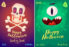Vector set of halloween illustrations. Halloween illustration monster and skull and crossbones . Vector set of happy halloween vintage badges, logos emblems and Royalty Free Stock Photos
