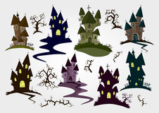 Vector set of Halloween objects and elements for design: castles Royalty Free Stock Photography