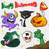 Vector set of Halloween pumpkin and attributes icons. Witch cat, Royalty Free Stock Photos