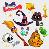 Vector set of Halloween pumpkin and attributes icons Stock Image