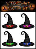Vector set of Halloween realistic witches hat. Illustration isolated on white background Stock Images