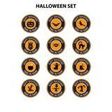Vector set of halloween signs badges and labels design in orange royalty free illustration