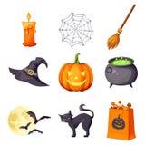 Vector set of Halloween symbols. Stock Image