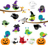 Vector Set of Halloween Themed Cartoon Birds Stock Photography