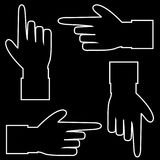 Vector set of hand cursor pictograms isolated on black background. Black with white contour silhouette of hand with pointing or showing in various directions Stock Images