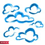 Vector set of hand drawing clouds in watercolor style, bright blue artistic illustration, isolated elements, hand drawn. Illustration. Hand drawn various clouds royalty free illustration