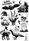 Set of hand drawing of halloween objects in black and white vector illustration
