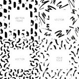Vector set of hand drawn abstract backgrounds with brush strokes and copy space for text. royalty free illustration