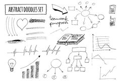 Vector set of hand drawn abstract doodles Royalty Free Stock Images