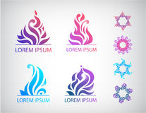 Vector set of hand drawn abstract floral icons Stock Image