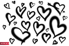 Vector set of hand drawn airbrush symbols. Various shape and size hand drawn hearts vector illustration