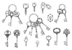 Vector set of hand-drawn antique keys. Illustration in sketch style on white background. Old design royalty free illustration