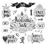 Vector set of hand drawn autumn sale banners. Doodle style, lettering. Best price, big sale, only today, super sale. Leaves, swirls, flowers arrows heart stock illustration