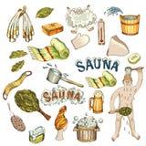 Vector set of hand drawn bath accessories, sauna accessories in wooden sauna. Vector set of bath and sauna accessories. Bathhouse broom, wooden bucket, towels vector illustration