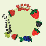 Vector set hand drawn berries label. Royalty Free Stock Photos