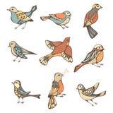 Vector set of hand-drawn birds. Royalty Free Stock Photos