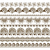 Vector set of hand drawn borders in ethnic indian style. Collection of pattern brushes inside Stock Photo