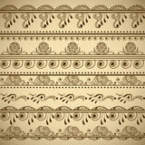 Vector set of hand drawn borders in ethnic indian style. Collection of pattern brushes inside Stock Image