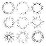 Vector set of hand drawn branch circle frames. Stock Images