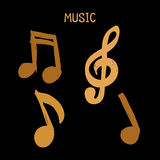Vector Set of Hand-drawn brown music notes on white background for design, doodle illustration Stock Photos