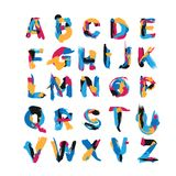 Vector set with hand drawn with brush spots and smears elements. Abc letters sequence from A to Z. English creative font, good for Stock Image