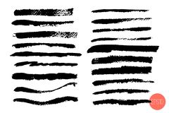 Vector set of hand drawn brush strokes, origins for custom brushes. Monochrome design element set. Black color artistic. Hand drawn horizontal stripes various vector illustration