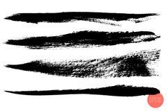 Vector set of hand drawn brush strokes, origins for custom brushes. Monochrome design elements set. Black color artistic. Hand drawn horizontal shapes royalty free illustration