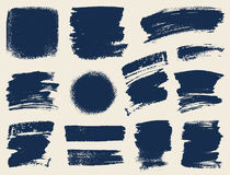 Vector set of hand drawn brush strokes and stains. Royalty Free Stock Photography