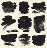 Vector set of hand drawn brush strokes and stains. Royalty Free Stock Photos