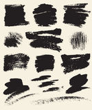 Vector set of hand drawn brush strokes and stains. Stock Photography
