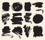 Vector set of hand drawn brush strokes and stains. Royalty Free Stock Images