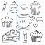 Vector set of hand drawn cakes, sweets, tea cup Stock Photo