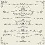 Vector set of hand drawn calligraphic design elements Royalty Free Stock Images