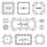 Vector set of hand-drawn calligraphic frames. Vintage linear ornaments, design elements, flourishes, ornamental page decorations and dividers. Can be used for Royalty Free Stock Images