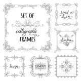 Vector set of hand-drawn calligraphic frames. Vintage linear ornaments, design elements, flourishes, ornamental page decorations and dividers. Can be used for Stock Photos
