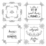 Vector set of hand-drawn calligraphic frames. Vintage linear ornaments, design elements, flourishes, ornamental page decorations and dividers. Can be used for Stock Image