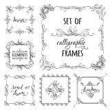 Vector set of hand-drawn calligraphic frames. Vintage ornaments, design elements, flourishes, ornamental page decorations and dividers. Can be used for Royalty Free Stock Photos