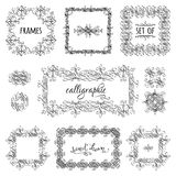 Vector set of hand-drawn calligraphic frames. Vintage ornaments, design elements, flourishes, ornamental page decorations and dividers. Can be used for Royalty Free Stock Images