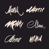 Vector set of hand drawn calligraphic menu headlines. Stock Images