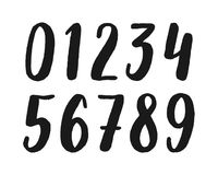Hand drawn calligraphic numbers. Vector symbols. Vector set of hand drawn calligraphic numbers isolated on white background. Black textured digits for alphabet Stock Illustration