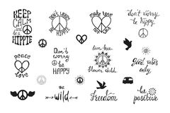 Vector Set Of Hand Drawn Calligraphy Phrases Hippie Typography