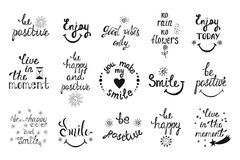 Vector set of hand drawn calligraphy phrases. Positive typograph Stock Photography