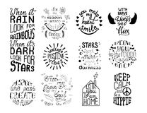 Vector set of hand drawn calligraphy phrases. Romantic typograph. Y design. Motivation and inspiration quotes for postcards, greeting cards, prints, posters Royalty Free Stock Photography